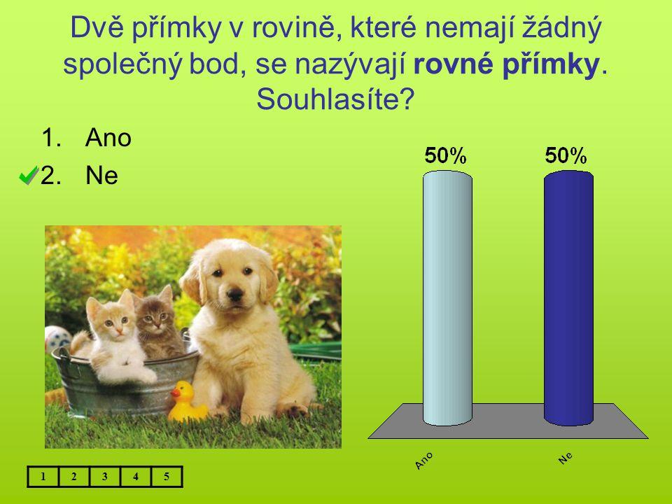 Dvě přímky v rovině, které nemají žádný společný bod, se nazývají rovné přímky. Souhlasíte? 1.Ano 2.Ne 12345