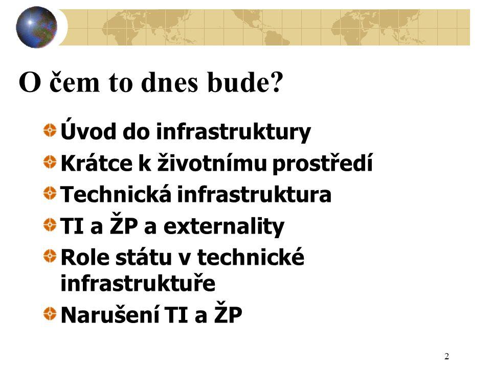 O čem to dnes bude? Úvod do infrastruktury Krátce k životnímu prostředí Technická infrastruktura TI a ŽP a externality Role státu v technické infrastr