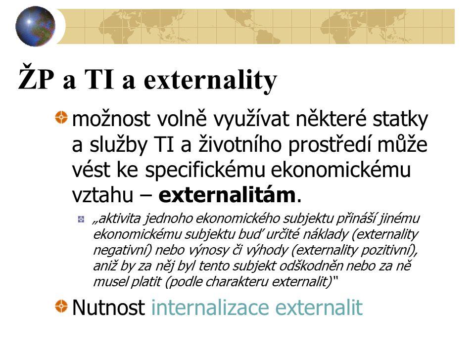 ŽP a TI a externality možnost volně využívat některé statky a služby TI a životního prostředí může vést ke specifickému ekonomickému vztahu – external