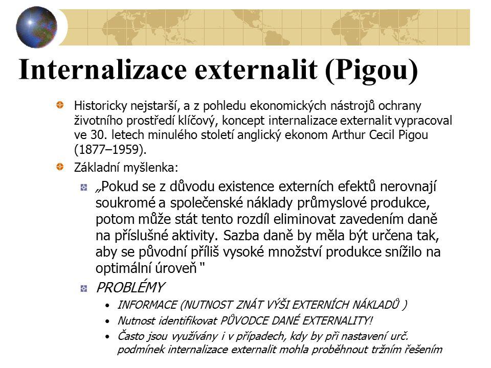Internalizace externalit (Pigou) Historicky nejstarší, a z pohledu ekonomických nástrojů ochrany životního prostředí klíčový, koncept internalizace ex