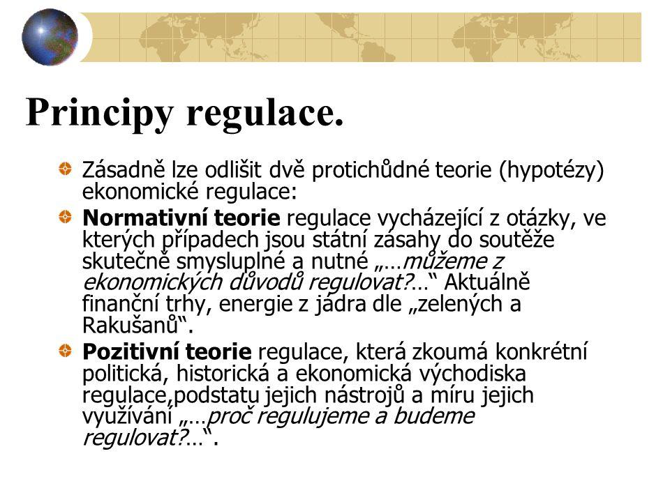 Principy regulace. Zásadně lze odlišit dvě protichůdné teorie (hypotézy) ekonomické regulace: Normativní teorie regulace vycházející z otázky, ve kter