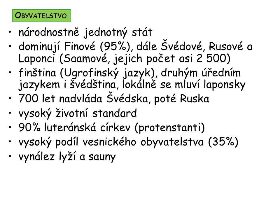 národnostně jednotný stát dominují Finové (95%), dále Švédové, Rusové a Laponci (Saamové, jejich počet asi 2 500) finština (Ugrofinský jazyk), druhým
