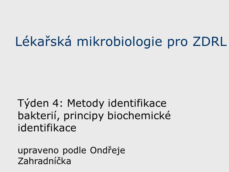 Lékařská mikrobiologie pro ZDRL Týden 4: Metody identifikace bakterií, principy biochemické identifikace upraveno podle Ondřeje Zahradníčka