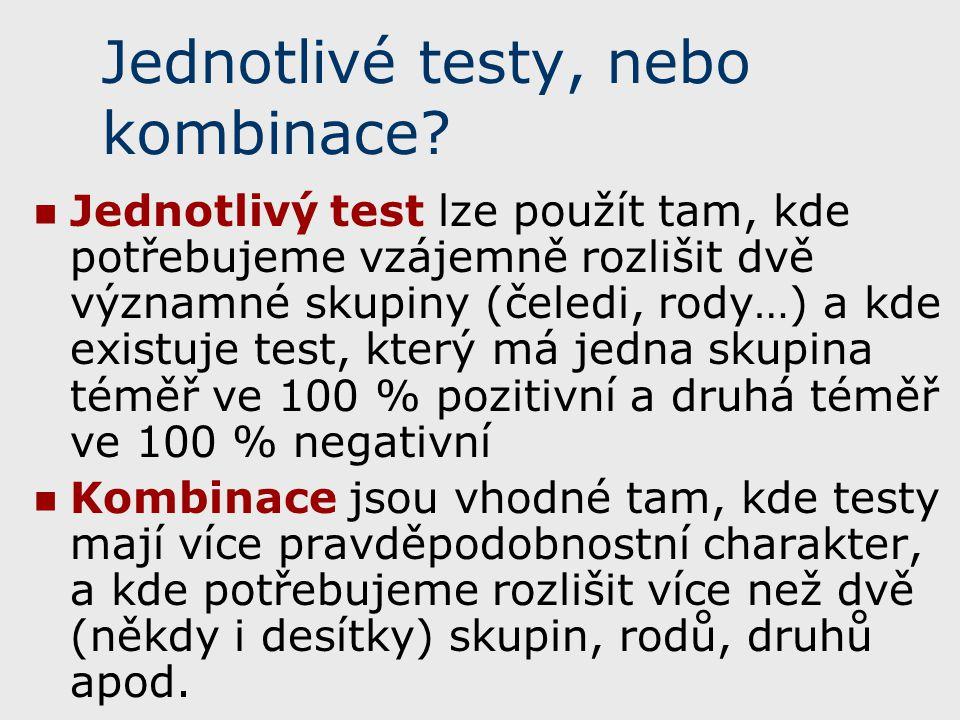 Jednotlivé testy, nebo kombinace? Jednotlivý test lze použít tam, kde potřebujeme vzájemně rozlišit dvě významné skupiny (čeledi, rody…) a kde existuj