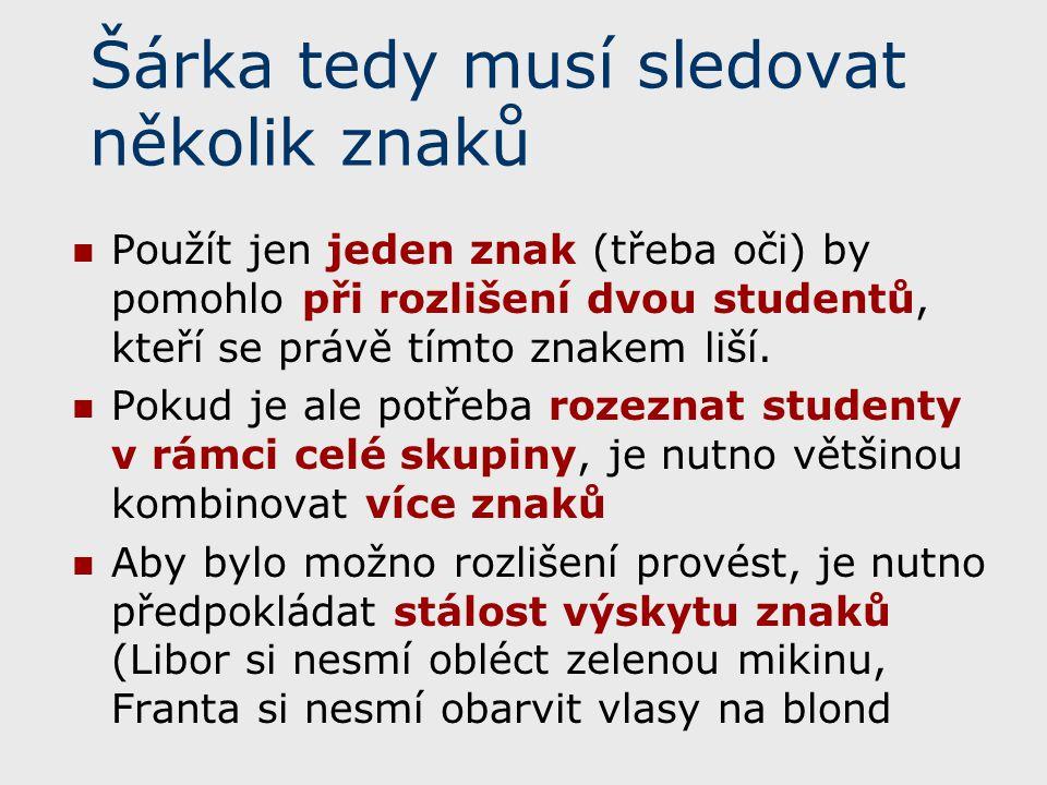 Šárka tedy musí sledovat několik znaků Použít jen jeden znak (třeba oči) by pomohlo při rozlišení dvou studentů, kteří se právě tímto znakem liší. Pok