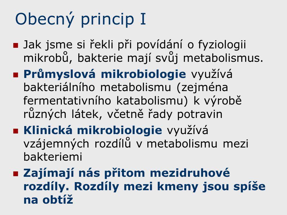 Obecný princip I Jak jsme si řekli při povídání o fyziologii mikrobů, bakterie mají svůj metabolismus. Průmyslová mikrobiologie využívá bakteriálního