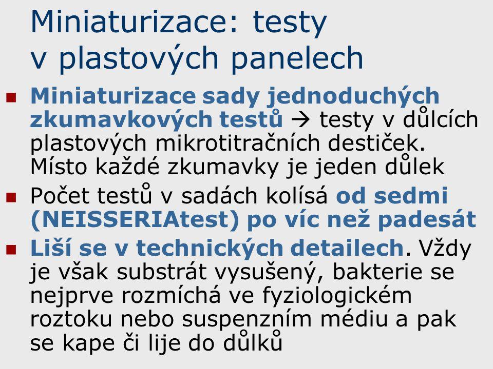 Miniaturizace: testy v plastových panelech Miniaturizace sady jednoduchých zkumavkových testů  testy v důlcích plastových mikrotitračních destiček. M