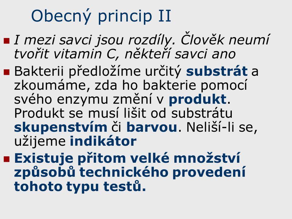 Obecný princip II I mezi savci jsou rozdíly. Člověk neumí tvořit vitamin C, někteří savci ano Bakterii předložíme určitý substrát a zkoumáme, zda ho b