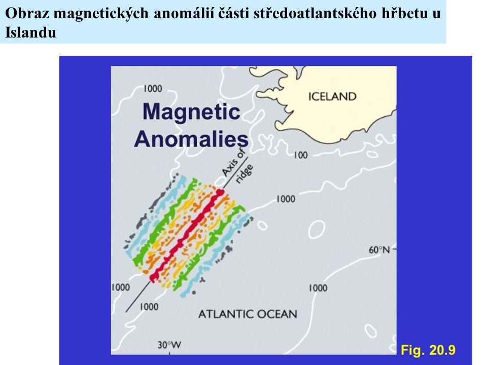 Obraz magnetických anomálií části středoatlantského hřbetu u Islandu