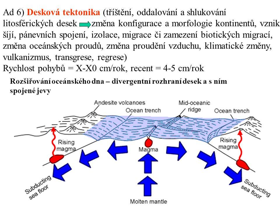 Rozšiřování oceánského dna – divergentní rozhraní desek a s ním spojené jevy Ad 6) Desková tektonika (tříštění, oddalování a shlukování litosférických desek změna konfigurace a morfologie kontinentů, vznik šíjí, pánevních spojení, izolace, migrace či zamezení biotických migrací, změna oceánských proudů, změna proudění vzduchu, klimatické změny, vulkanizmus, transgrese, regrese) Rychlost pohybů = X-X0 cm/rok, recent = 4-5 cm/rok