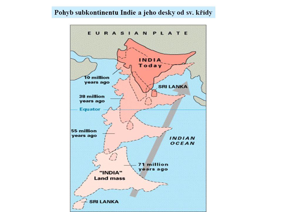 Pohyb subkontinentu Indie a jeho desky od sv. křídy