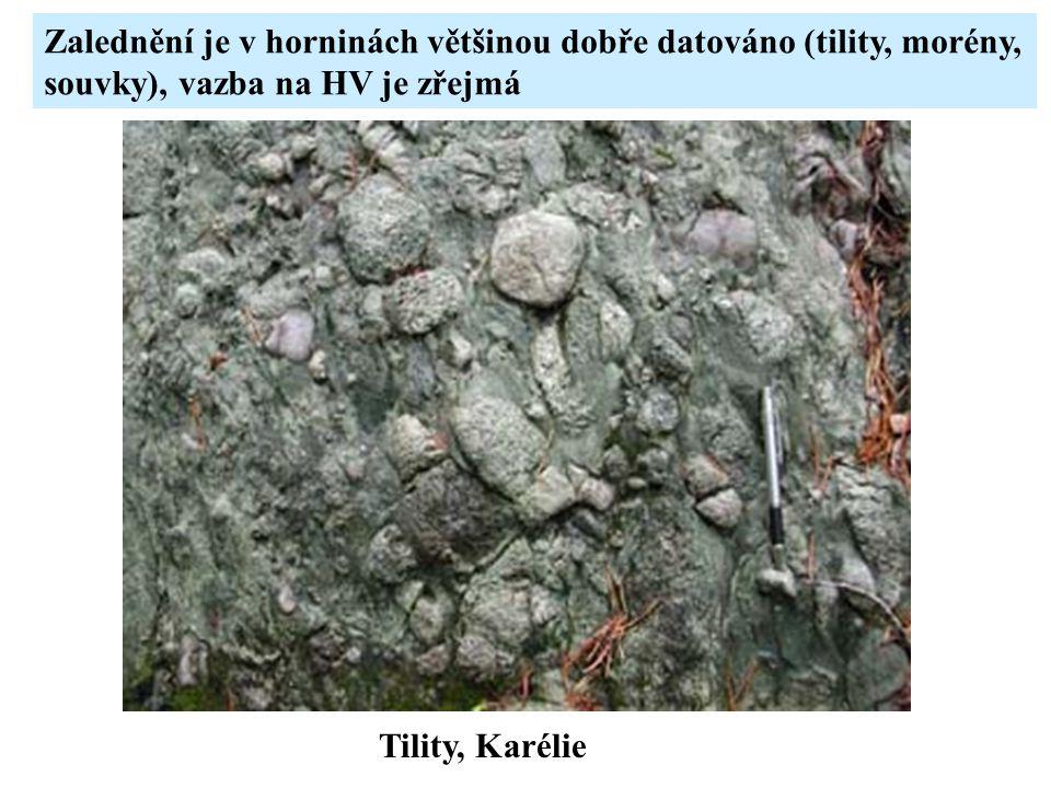 Tility, Karélie Zalednění je v horninách většinou dobře datováno (tility, morény, souvky), vazba na HV je zřejmá