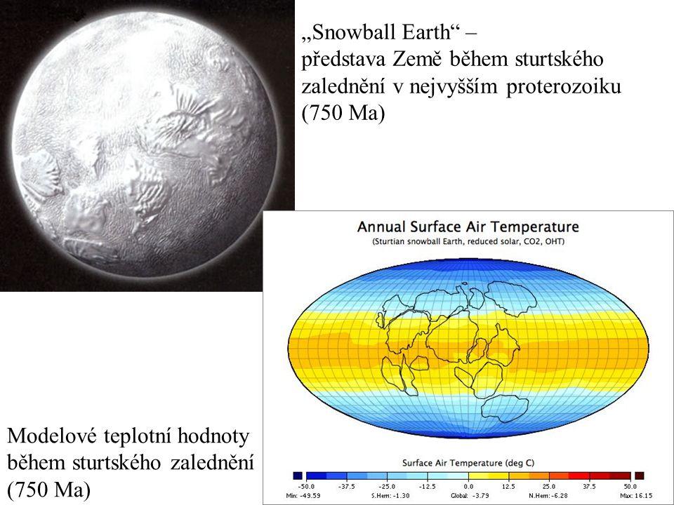 """""""Snowball Earth"""" – představa Země během sturtského zalednění v nejvyšším proterozoiku (750 Ma) Modelové teplotní hodnoty během sturtského zalednění (7"""