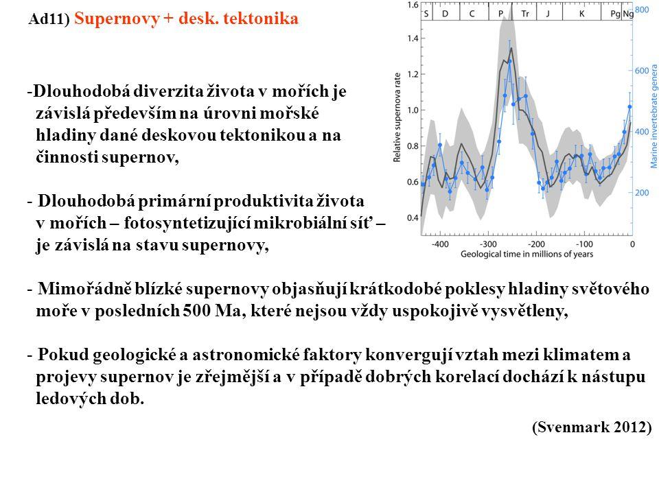 Ad11) Supernovy + desk. tektonika -Dlouhodobá diverzita života v mořích je závislá především na úrovni mořské hladiny dané deskovou tektonikou a na či