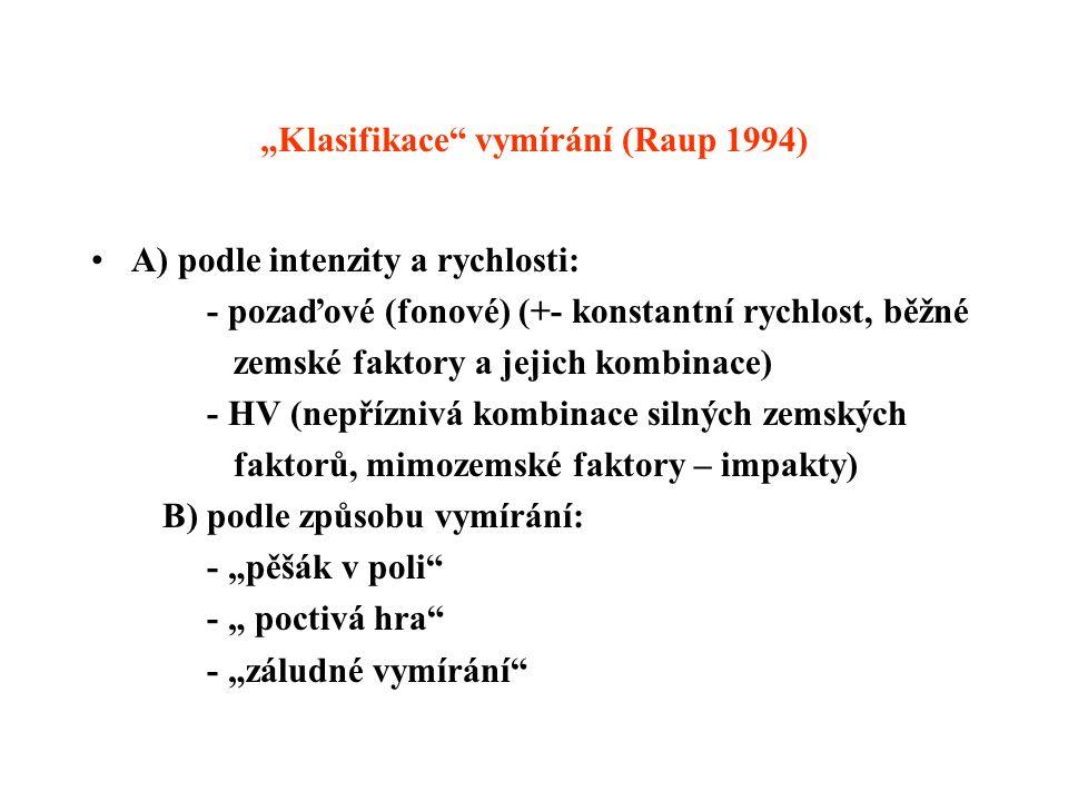 """""""Klasifikace"""" vymírání (Raup 1994) A) podle intenzity a rychlosti: - pozaďové (fonové) (+- konstantní rychlost, běžné zemské faktory a jejich kombinac"""
