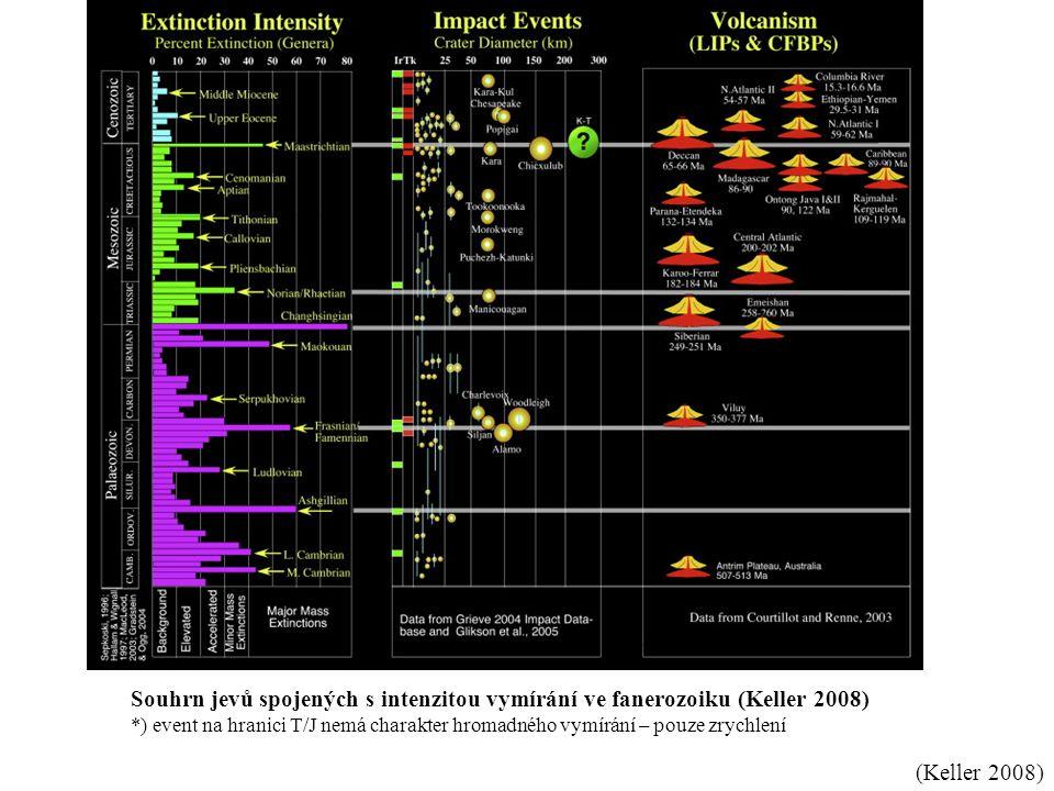 (Keller 2008) Souhrn jevů spojených s intenzitou vymírání ve fanerozoiku (Keller 2008) *) event na hranici T/J nemá charakter hromadného vymírání – po