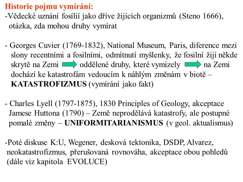 Historie pojmu vymírání: -Vědecké uznání fosílií jako dříve žijících organizmů (Steno 1666), otázka, zda mohou druhy vymírat - Georges Cuvier (1769-1832), National Museum, Paris, diference mezi slony recentními a fosilními, odmítnutí myšlenky, že fosilní žijí někde skrytě na Zemi oddělené druhy, které vymizely na Zemi dochází ke katastrofám vedoucím k náhlým změnám v biotě – KATASTROFIZMUS (vymírání jako fakt) - Charles Lyell (1797-1875), 1830 Principles of Geology, akceptace Jamese Huttona (1790) – Země neprodělává katastrofy, ale postupné pomalé změny – UNIFORMITARIANISMUS (v geol.