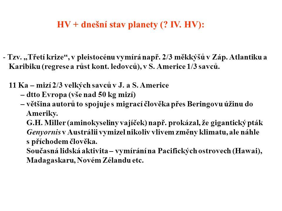 """HV + dnešní stav planety (.IV. HV): - Tzv. """"Třetí krize , v pleistocénu vymírá např."""