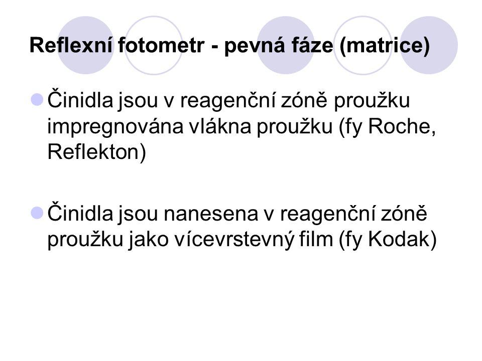 Reflexní fotometr - pevná fáze (matrice) Činidla jsou v reagenční zóně proužku impregnována vlákna proužku (fy Roche, Reflekton) Činidla jsou nanesena