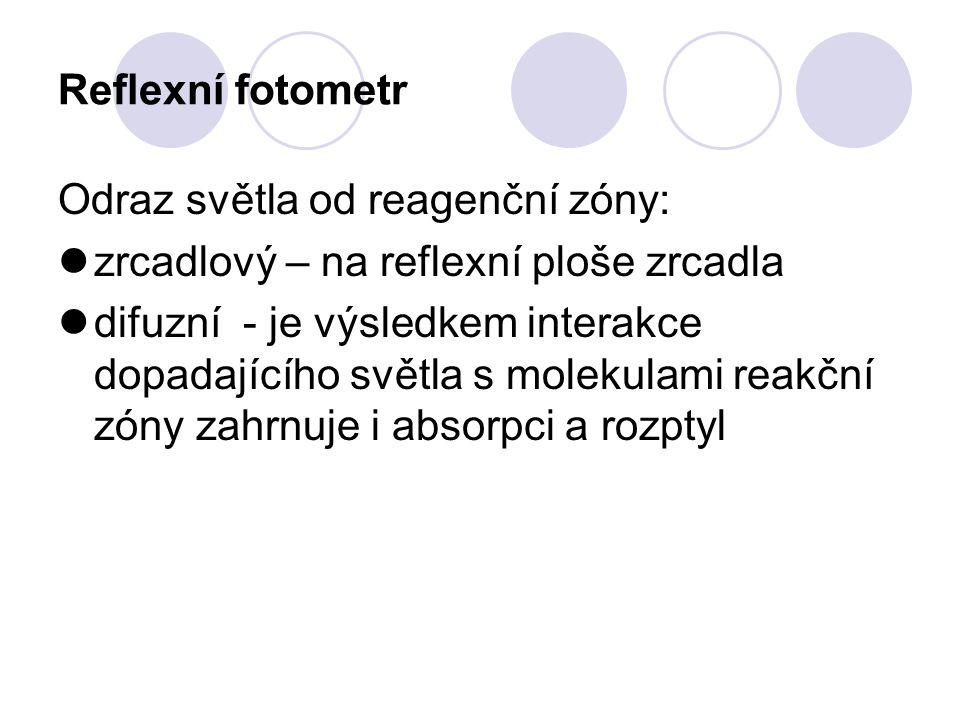 Reflexní fotometr Odraz světla od reagenční zóny: zrcadlový – na reflexní ploše zrcadla difuzní - je výsledkem interakce dopadajícího světla s molekul