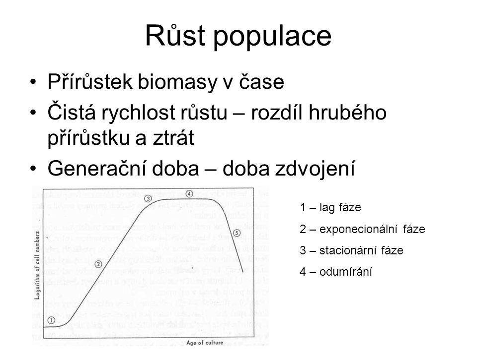 Růst populace Přírůstek biomasy v čase Čistá rychlost růstu – rozdíl hrubého přírůstku a ztrát Generační doba – doba zdvojení 1 – lag fáze 2 – exponecionální fáze 3 – stacionární fáze 4 – odumírání