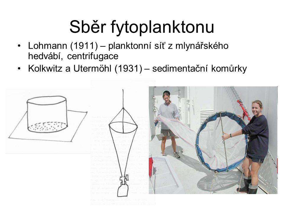 Sběr fytoplanktonu Lohmann (1911) – planktonní síť z mlynářského hedvábí, centrifugace Kolkwitz a Utermöhl (1931) – sedimentační komůrky