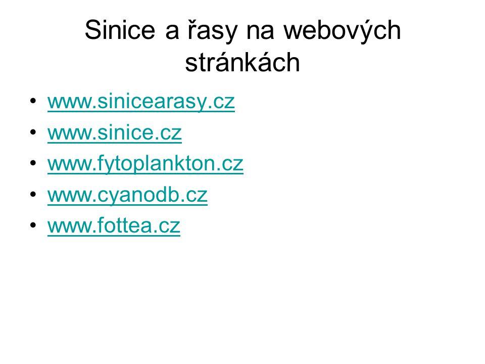 Sinice a řasy na webových stránkách www.sinicearasy.cz www.sinice.cz www.fytoplankton.cz www.cyanodb.cz www.fottea.cz