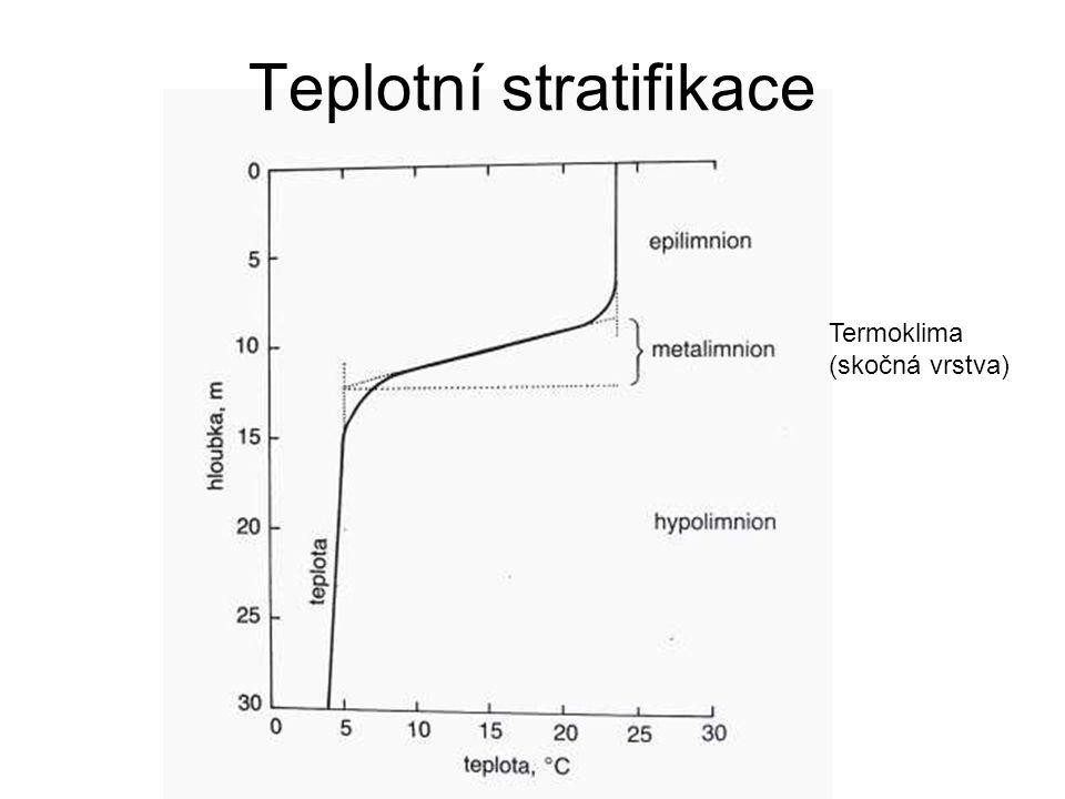 Teplotní stratifikace Termoklima (skočná vrstva)