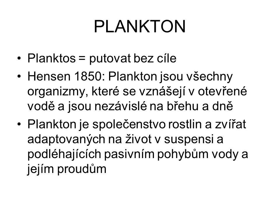PLANKTON Planktos = putovat bez cíle Hensen 1850: Plankton jsou všechny organizmy, které se vznášejí v otevřené vodě a jsou nezávislé na břehu a dně Plankton je společenstvo rostlin a zvířat adaptovaných na život v suspensi a podléhajících pasivním pohybům vody a jejím proudům
