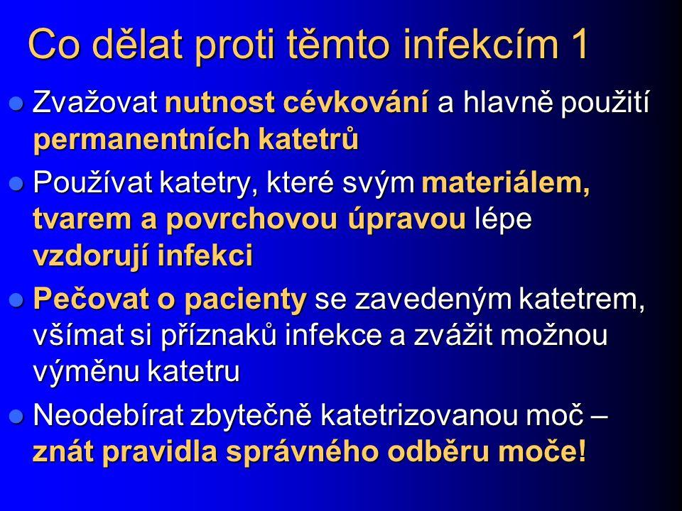 Co dělat proti těmto infekcím 1 Zvažovat nutnost cévkování a hlavně použití permanentních katetrů Zvažovat nutnost cévkování a hlavně použití permanen