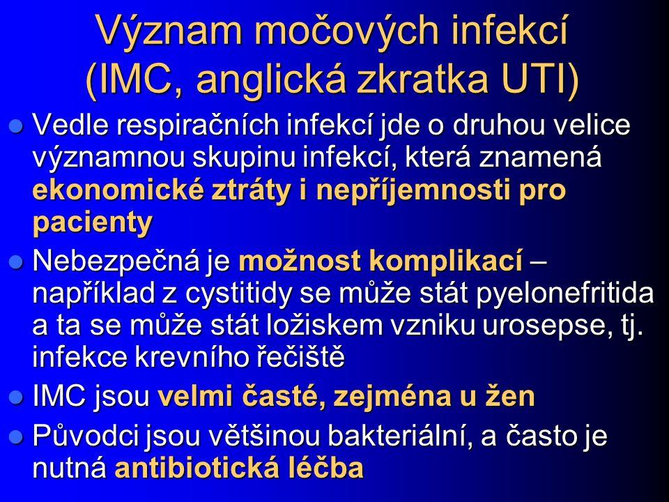 Význam močových infekcí (IMC, anglická zkratka UTI) Vedle respiračních infekcí jde o druhou velice významnou skupinu infekcí, která znamená ekonomické ztráty i nepříjemnosti pro pacienty Vedle respiračních infekcí jde o druhou velice významnou skupinu infekcí, která znamená ekonomické ztráty i nepříjemnosti pro pacienty Nebezpečná je možnost komplikací – například z cystitidy se může stát pyelonefritida a ta se může stát ložiskem vzniku urosepse, tj.
