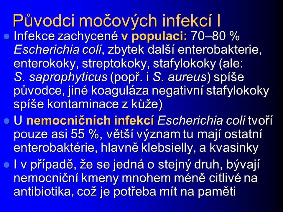 Původci močových infekcí I Infekce zachycené v populaci: 70–80 % Escherichia coli, zbytek další enterobakterie, enterokoky, streptokoky, stafylokoky (ale: S.