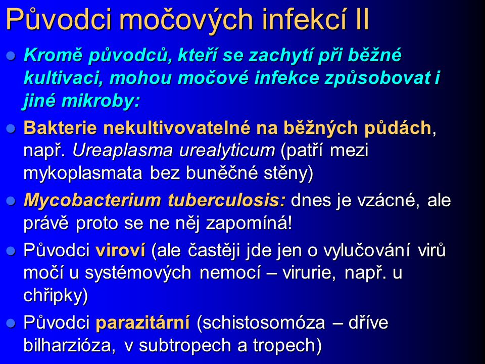 Původci močových infekcí II Kromě původců, kteří se zachytí při běžné kultivaci, mohou močové infekce způsobovat i jiné mikroby: Kromě původců, kteří se zachytí při běžné kultivaci, mohou močové infekce způsobovat i jiné mikroby: Bakterie nekultivovatelné na běžných půdách, např.
