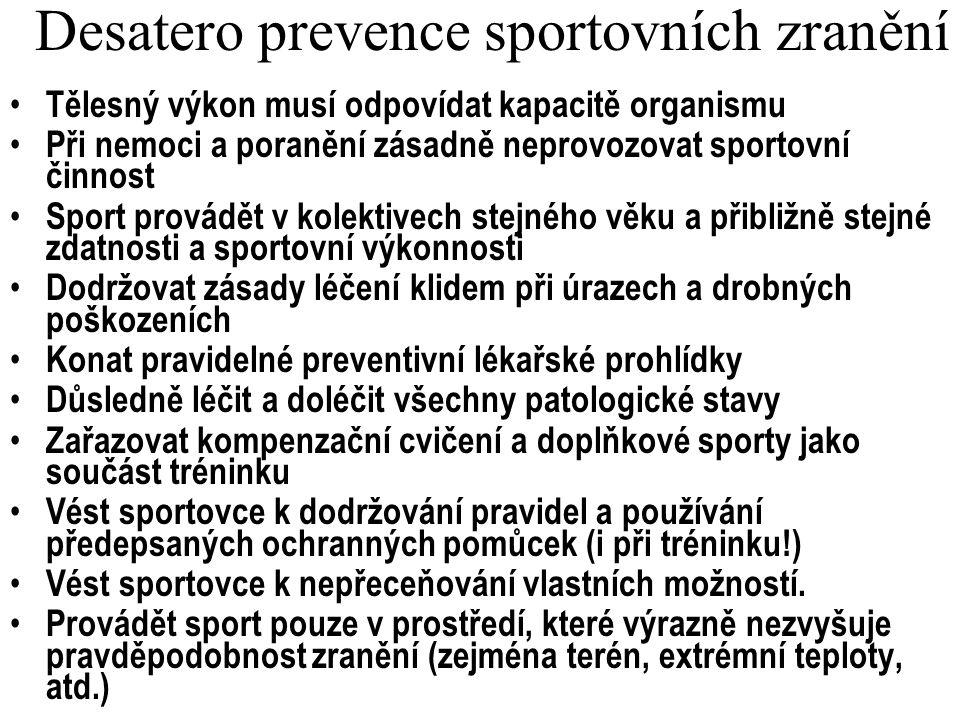 Desatero prevence sportovních zranění Tělesný výkon musí odpovídat kapacitě organismu Při nemoci a poranění zásadně neprovozovat sportovní činnost Spo