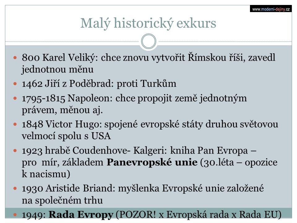 Malý historický exkurs 800 Karel Veliký: chce znovu vytvořit Římskou říši, zavedl jednotnou měnu 1462 Jiří z Poděbrad: proti Turkům 1795-1815 Napoleon
