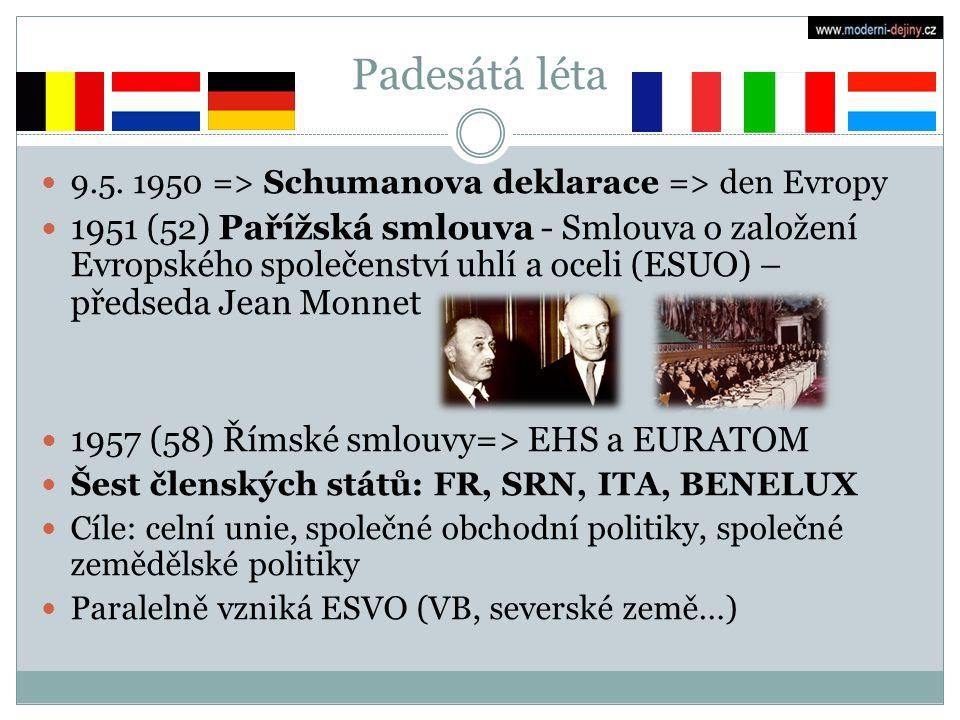 Padesátá léta 9.5. 1950 => Schumanova deklarace => den Evropy 1951 (52) Pařížská smlouva - Smlouva o založení Evropského společenství uhlí a oceli (ES