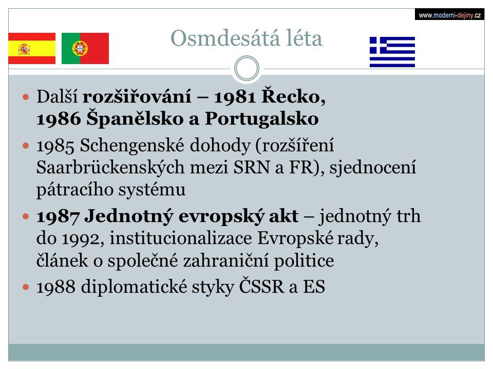 Osmdesátá léta Další rozšiřování – 1981 Řecko, 1986 Španělsko a Portugalsko 1985 Schengenské dohody (rozšíření Saarbrückenských mezi SRN a FR), sjedno