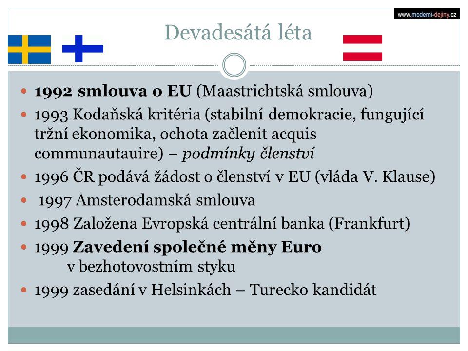 Devadesátá léta 1992 smlouva o EU (Maastrichtská smlouva) 1993 Kodaňská kritéria (stabilní demokracie, fungující tržní ekonomika, ochota začlenit acqu