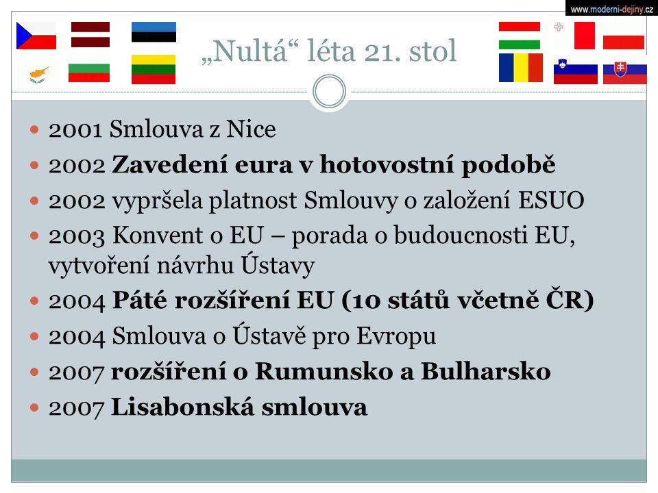 """""""Nultá"""" léta 21. stol 2001 Smlouva z Nice 2002 Zavedení eura v hotovostní podobě 2002 vypršela platnost Smlouvy o založení ESUO 2003 Konvent o EU – po"""