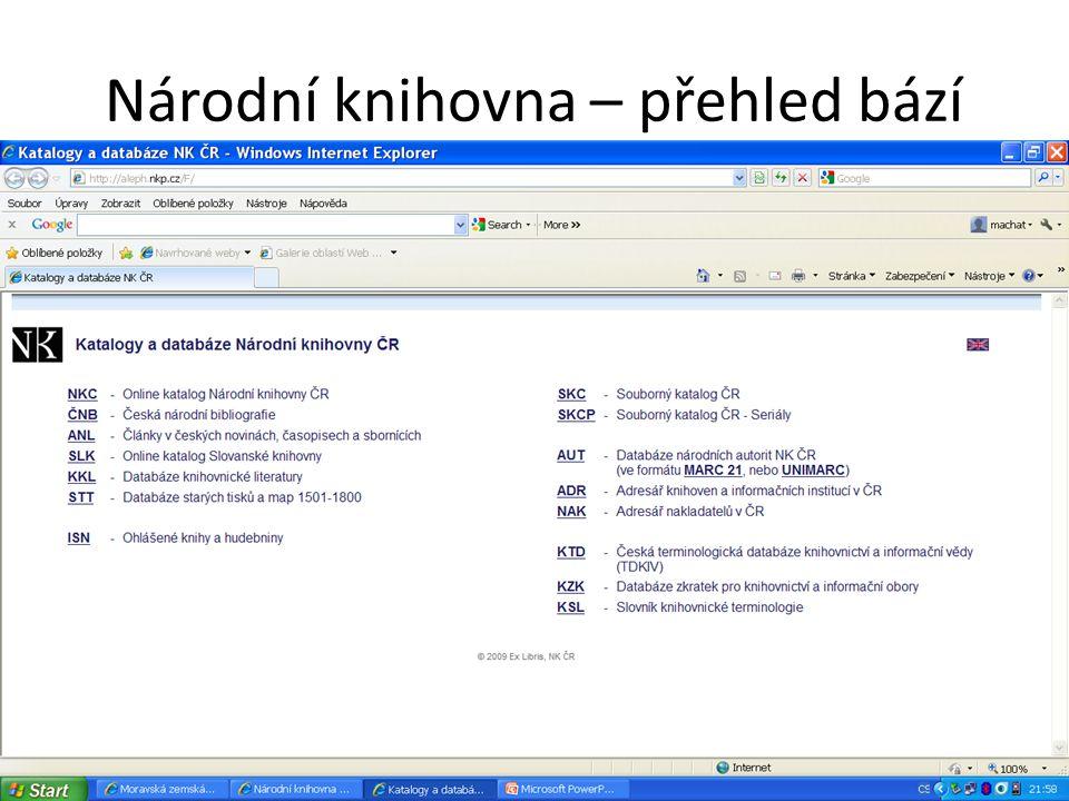 Souborný katalog ČR (CASLIN) Vyhledávání Obsahuje záznamy o více než 5,7 mil.