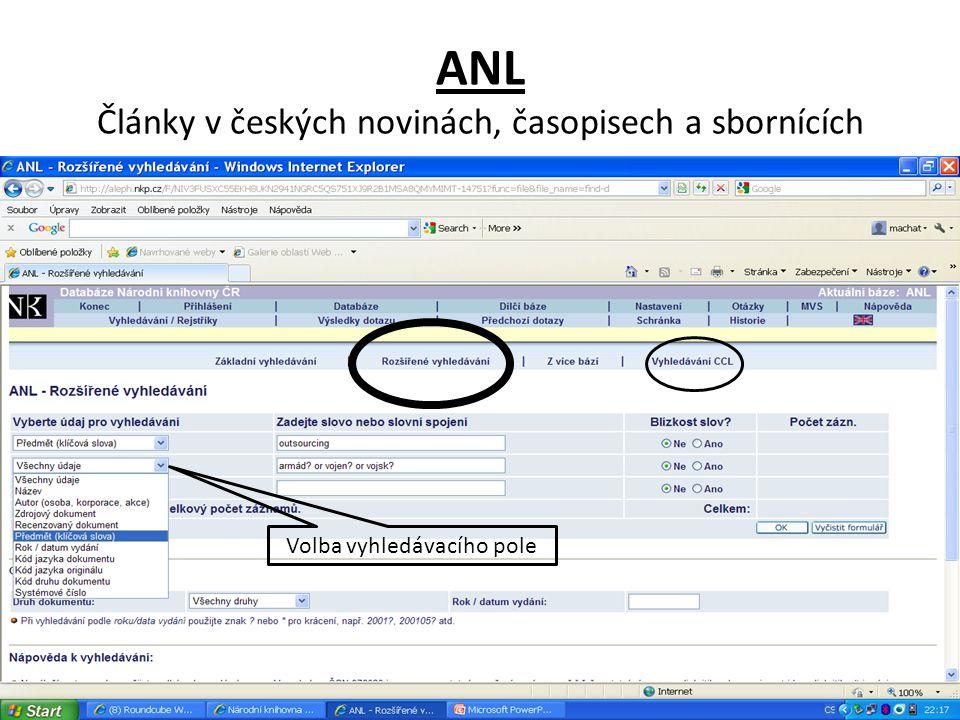 ANL - výsledky Návrat do základní vyhledávací masky