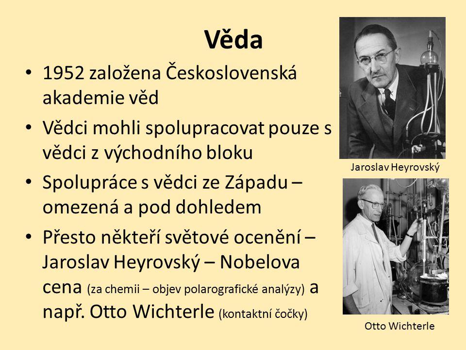 Věda 1952 založena Československá akademie věd Vědci mohli spolupracovat pouze s vědci z východního bloku Spolupráce s vědci ze Západu – omezená a pod