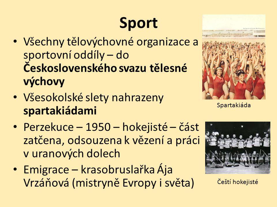 Sport Všechny tělovýchovné organizace a sportovní oddíly – do Československého svazu tělesné výchovy Všesokolské slety nahrazeny spartakiádami Perzeku