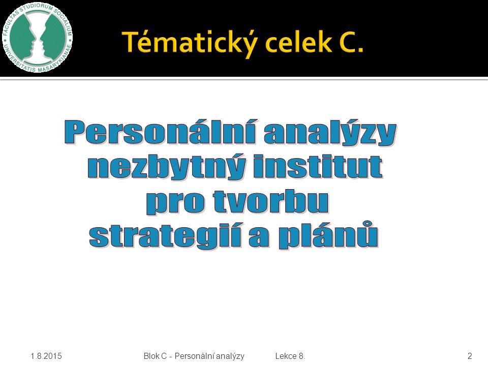1.8.2015Blok C - Personální analýzy Lekce 8.2