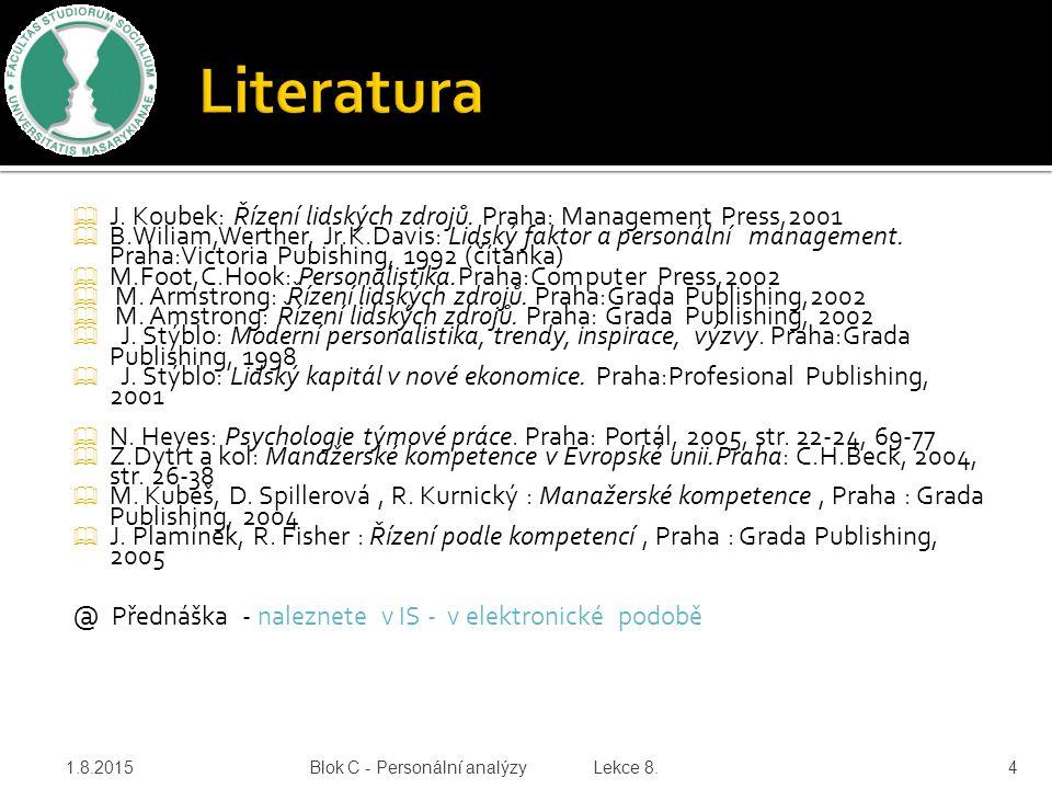 J. Koubek: Řízení lidských zdrojů. Praha: Management Press,2001  B.Wiliam,Werther, Jr.K.Davis: Lidský faktor a personální management. Praha:Victori