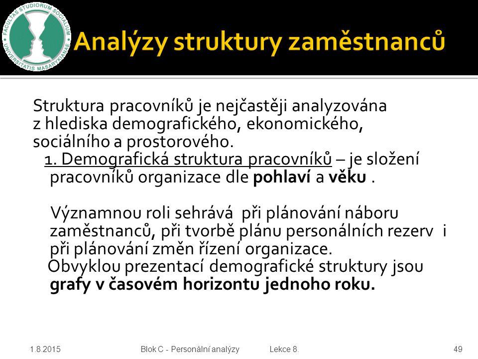 Struktura pracovníků je nejčastěji analyzována z hlediska demografického, ekonomického, sociálního a prostorového. 1. Demografická struktura pracovník