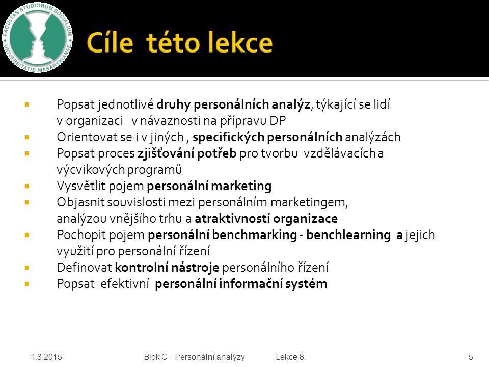  Popsat jednotlivé druhy personálních analýz, týkající se lidí v organizaci v návaznosti na přípravu DP  Orientovat se i v jiných, specifických pers