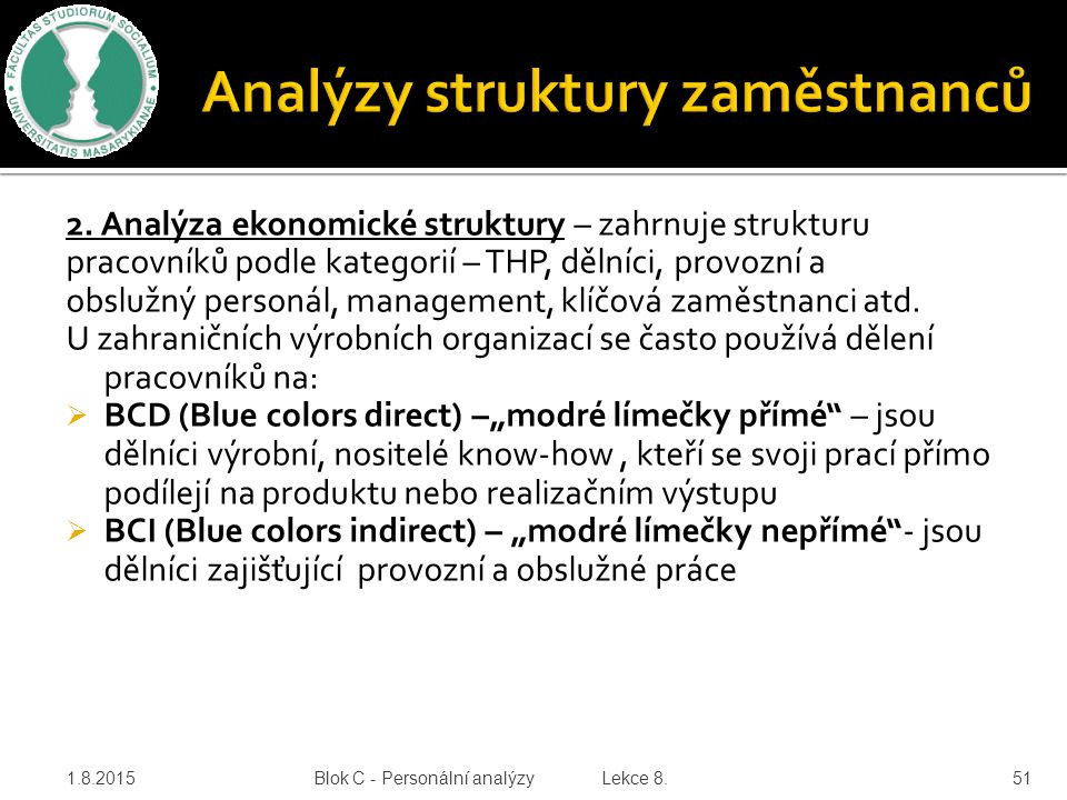 2. Analýza ekonomické struktury – zahrnuje strukturu pracovníků podle kategorií – THP, dělníci, provozní a obslužný personál, management, klíčová zamě