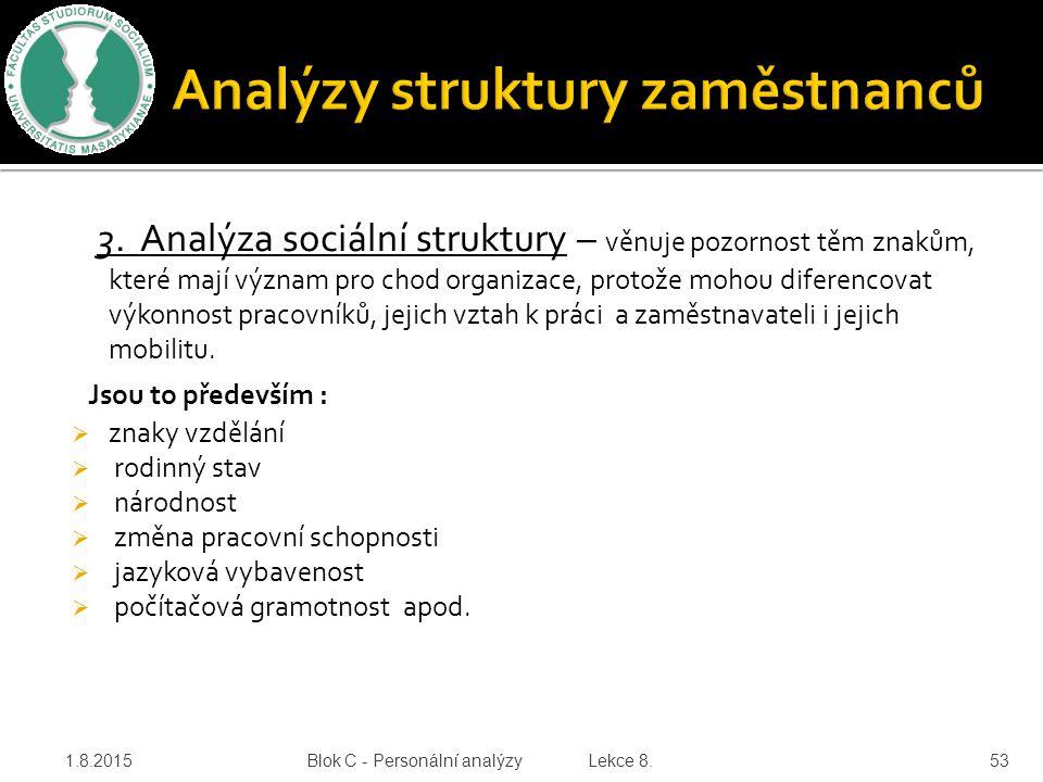 3. Analýza sociální struktury – věnuje pozornost těm znakům, které mají význam pro chod organizace, protože mohou diferencovat výkonnost pracovníků, j