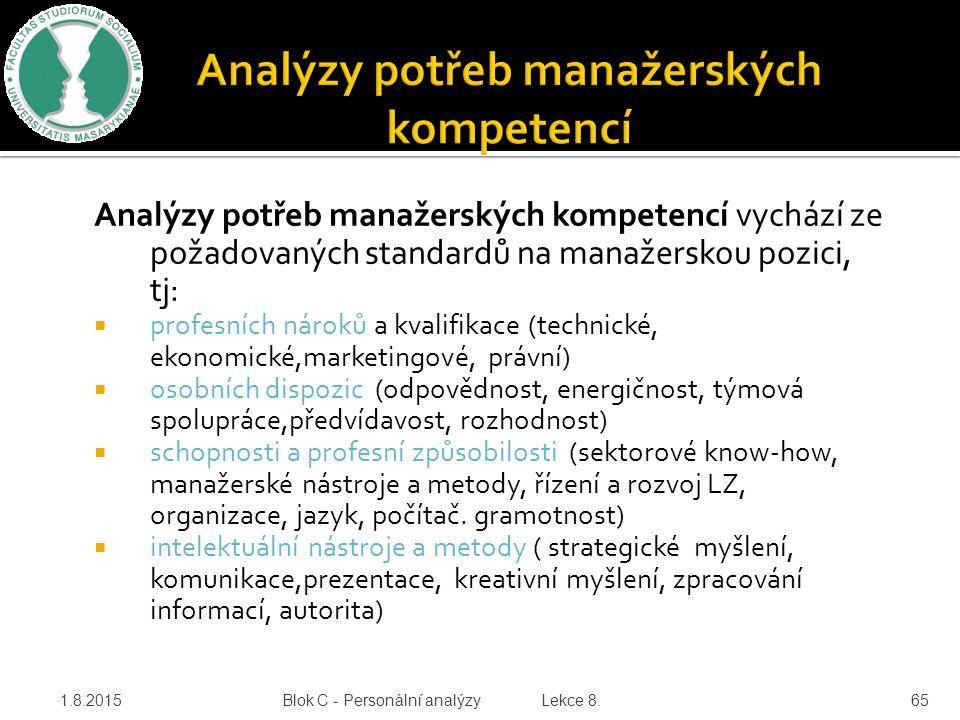 Analýzy potřeb manažerských kompetencí vychází ze požadovaných standardů na manažerskou pozici, tj:  profesních nároků a kvalifikace (technické, ekon